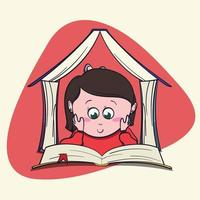 Cute little girl book lover enjoys reading big books and novels. Cartoon style Bibliophile Illustration for Graphic Novels. vector