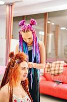 Hippie and boho style coiffure. photo