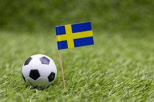 Soccer ball with flag of Sweden on green grass photo