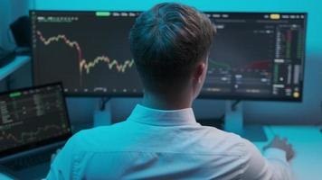 Close up of young Caucasian man trader working at monitor computer and browsing online in trading office. Male broker following rates and bets. photo