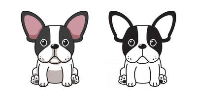 Vector cartoon set of French Bulldog