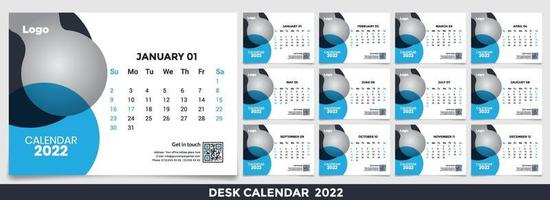 Calendar 2022, Set Desk Calendar template design with Place for Photo and Company Logo. The week Monday on Sunday. Set of 12 Months vector