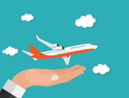 Abstract Airplane Background with Hand Vector Illustration