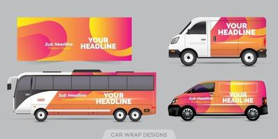 Transport advertisement design, car graphic design concept. Graphic abstract stripe designs for wrapping vehicles, cargo vans, pickup trucks, and racing livery. vector