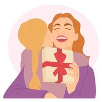 feliz madre e hija dando y recibiendo caja de regalo vector