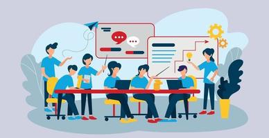 reunión del equipo de negocios, discusión de momentos de trabajo - vector