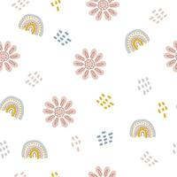 Seamless pattern of rainbows and flowers in pastel color vector