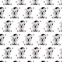 Cute seamless pattern little koala design on white background vector