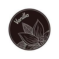 flor de vainilla de estilo vintage en etiqueta de círculo o plantilla de logotipo vector