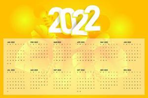 Modern desk calendar 2022 template design vector