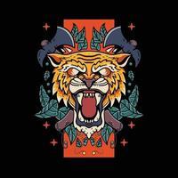 Ghost tiger with skull illustration vector