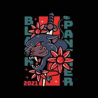Black panther illustration tshirt tattoo vector