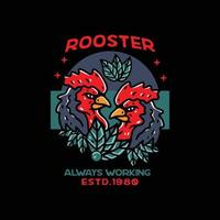 Rooster illustration classic style for tshirt vector