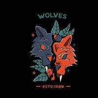 Wollf With Skull orange illustration for tshirt and tattoo vector