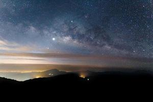 The Milky Way is our galaxy. This long exposure astronomical photograph photo