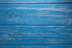 Blue wooden table Top view with Copy space photo