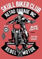 Skull Biker Club Vintage Badge, Retro Badge Design vector