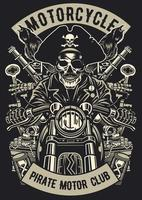 Pirate Motorcycle Club Vintage Badge, Retro Badge Design vector