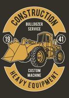 Bulldozer Service Vintage Badge, Retro Badge Design vector