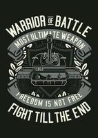 Warrior Of Battle Vintage Badge, Retro Badge Design vector