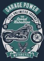Garage Power Motorcycle Vintage Badge, Retro Badge Design vector