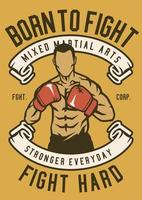 Born To Fight Vintage Badge, Retro Badge Design vector