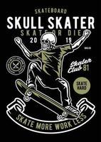 Skull Skater Vintage Badge, Retro Badge Design vector