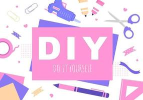 DIY Tools Do It Yourself Background Illustration For Home Renovation and Creative Projects vector