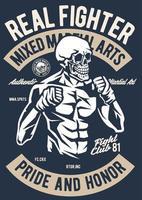 Skull Fighter Vintage Badge, Retro Badge Design vector
