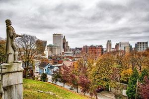 Providence rhode island skyline on a cloudy gloomy day photo