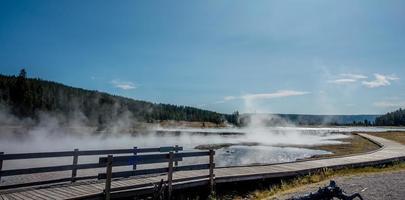 Eruption of Old Faithful geyser at Yellowstone Nationl park photo
