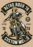 Retro Rider Vintage Badge, Retro Badge Design vector