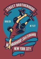 Skateboard Street Brotherhood Vintage Badge, Retro Badge Design vector