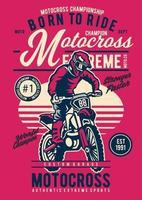 Motocross Extreme Vintage Badge, Retro Badge Design vector