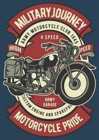 Motorcycle Military Vintage Badge, Retro Badge Design vector