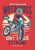 Motocross Extreme Dirt Track Vintage Badge, Retro Badge Design vector