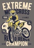 Extreme Motocross Vintage Badge, Retro Badge Design vector