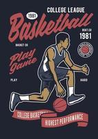 Basketball College League Vintage Badge, Retro Badge Design vector
