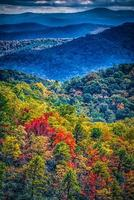 blue ridge and smoky mountains changing color in fall photo