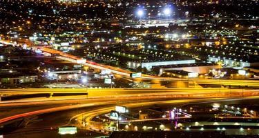 Las Vegas skyline at sunset - The Strip - Aerial view of Las Vegas Boulevard Nevada photo