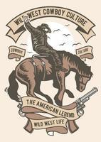 Wild West Cowboy Culture Vintage Badge, Retro Badge Design vector
