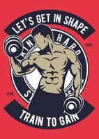 Gym Vintage Badge, Retro Badge Design vector