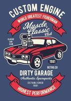 Muscle Classic Car Club Vintage Badge, Retro Badge Design vector