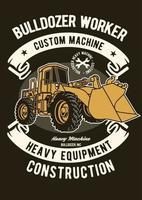 Bulldozer Worker Vintage Badge, Retro Badge Design vector