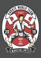 Karate World Team Vintage Badge, Retro Badge Design vector