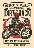 Motocross Classic Vintage Badge, Retro Badge Design vector