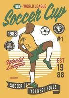Soccer Cup Vintage Badge, Retro Badge Design vector