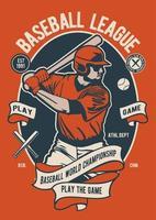 insignia vintage de la liga de béisbol, diseño de insignia retro vector