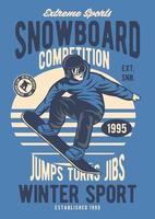 Snowboard Vintage Badge, Retro Badge Design vector