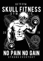 Skull Fitness Vintage Badge, Retro Badge Design vector